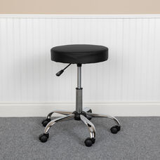 HERCULES Series Black Backless Medical Doctor Stool with Antimicrobial / Antibacterial Vinyl, Molded Foam Seat and Chrome Base