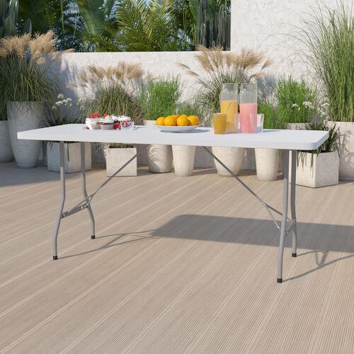 6-Foot Granite White Plastic Folding Table