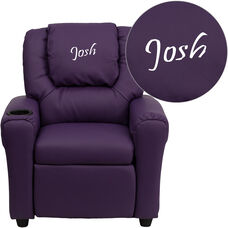 Personalized Purple Vinyl Kids Recliner with Cup Holder and Headrest