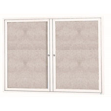 2 Door Outdoor Enclosed Bulletin Board with White Powder Coated Aluminum Frame - 36