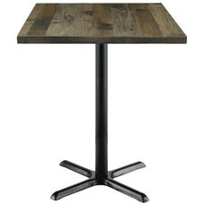 Urban Loft Collection 30'' Square Vintage Wood Top with Black Bistro Height Table Base - Barnwood