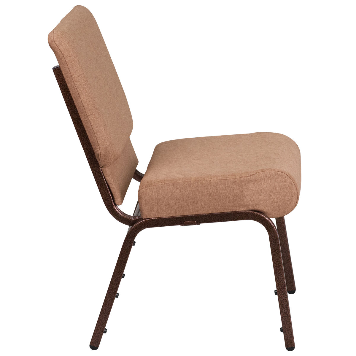 hercules series 21 u0026 39  u0026 39 w stacking church chair in caramel fabric - copper vein frame
