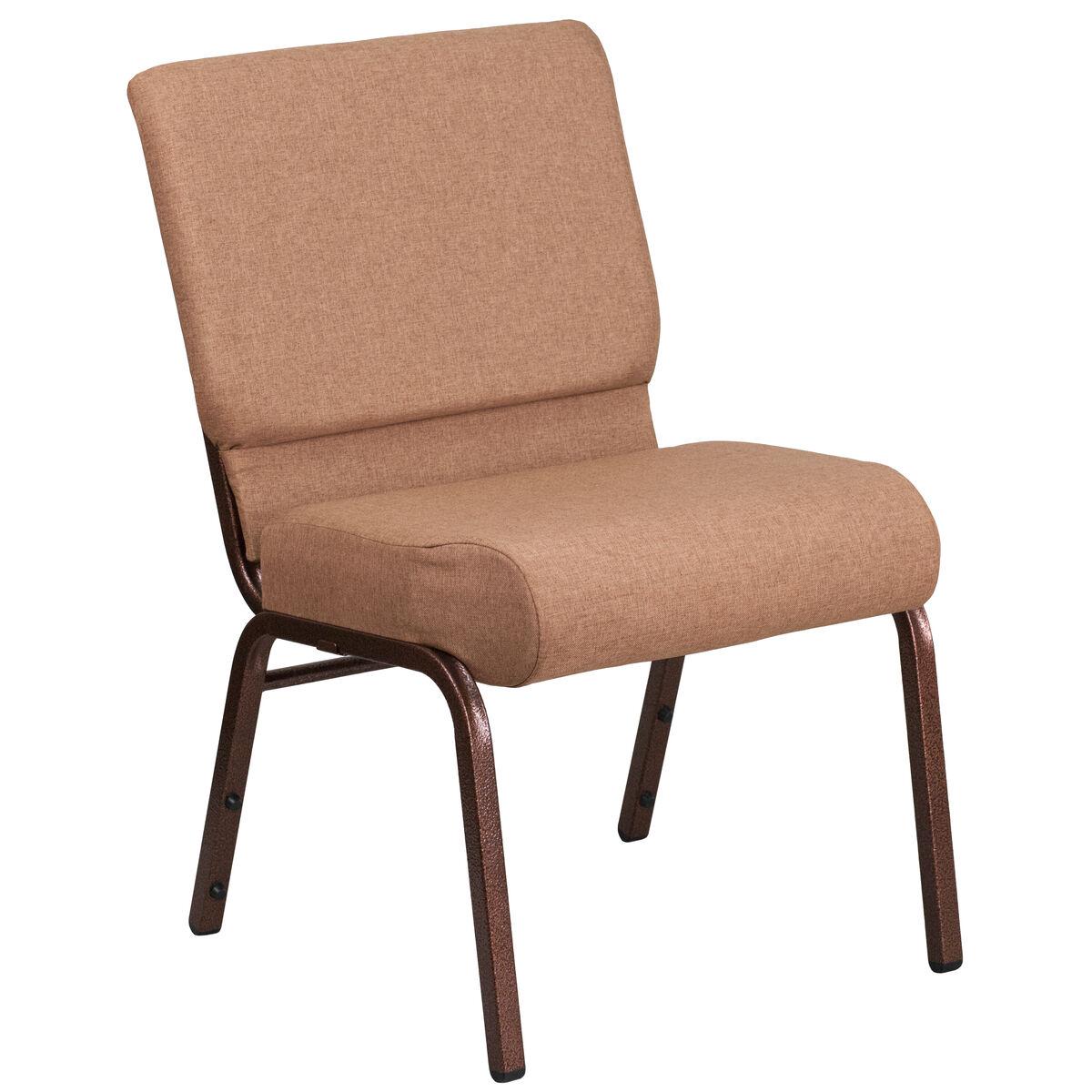 hercules series 21 u0026 39  u0026 39 w stacking church chair in caramel fabric - copper vein frame