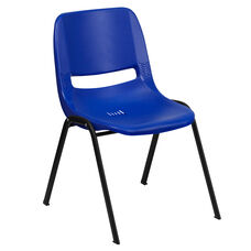 HERCULES Series 440 lb. Capacity Navy Ergonomic Shell Stack Chair with Black Frame and 14