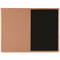 Wood Frame Combination Board with Natural Pebble Grain Cork Bulletin Board and Black Chalkboard - 36