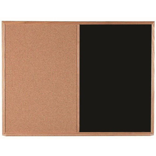 Our Wood Frame Combination Board with Natural Pebble Grain Cork Bulletin Board and Black Chalkboard - 36