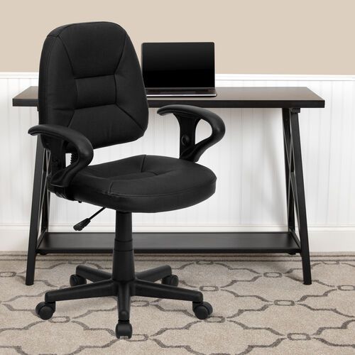 Our Mid-Back Black Leather Swivel Ergonomic Task Office Chair with Adjustable Arms is on sale now.