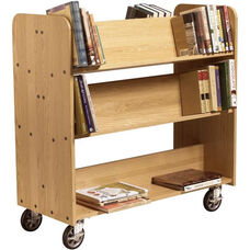 Solid Oak Mobile Book Truck with 2 Flat and 4 Sloped Shelves - 42