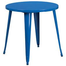 "Commercial Grade 30"" Round Blue Metal Indoor-Outdoor Table"