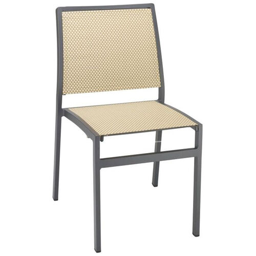 South Beach Collection Stackable Aluminum Outdoor Side Chair with Textile Back and Seat - Light Basket