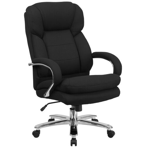 Our HERCULES Series 24/7 Intensive Use Big & Tall 500 lb. Rated Black Fabric Executive Ergonomic Office Chair with Loop Arms is on sale now.