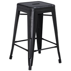 "Commercial Grade 24"" High Backless Distressed Black Metal Indoor-Outdoor Counter Height Stool"