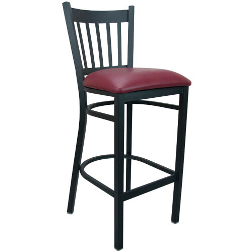Advantage Vertical Slat Back Metal Bar Stool - Burgundy Padded