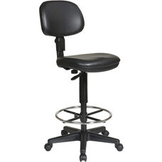 Work Smart Sculptured Seat and Back Drafting Vinyl Chair with Adjustable Height Seat and Footring - Black