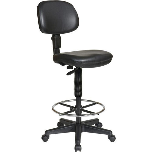 Our Work Smart Sculptured Seat and Back Drafting Vinyl Chair with Adjustable Height Seat and Footring - Black is on sale now.