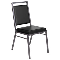 HERCULES Series Square Back Stacking Banquet Chair in Black Vinyl with Silvervein Frame