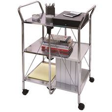 Click-N-Fold 3 Shelf Service Cart with Rolling Casters - Silver