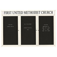 3 Door Indoor Illuminated Enclosed Directory Board with Header and White Anodized Aluminum Frame - 48