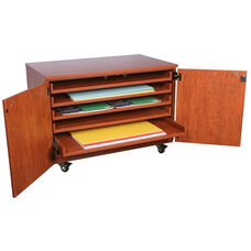 Storage Solution Paper with Doors and Six Rollout Shelves with Casters - 48