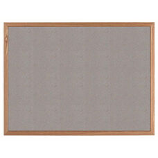VIC Cork Bulletin Board with Red Oak Frame - Gray - 36