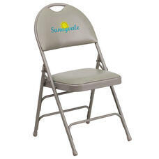Embroidered HERCULES Series Ultra-Premium Triple Braced Gray Vinyl Metal Folding Chair with Easy-Carry Handle