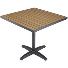24'' Square Synthetic Teak Outdoor Top with Black Table Base