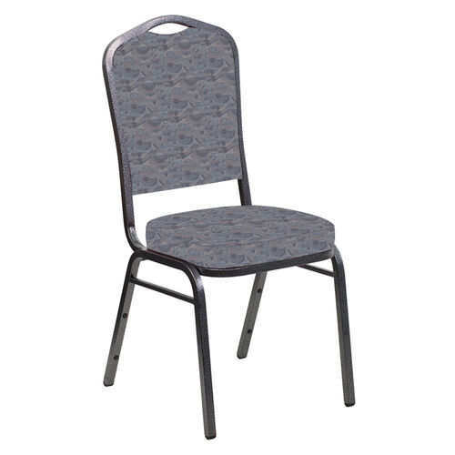 Our Embroidered Crown Back Banquet Chair in Perplex Hazelwood Fabric - Silver Vein Frame is on sale now.