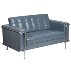 HERCULES Lesley Series Contemporary Gray LeatherSoft Loveseat with Encasing Frame
