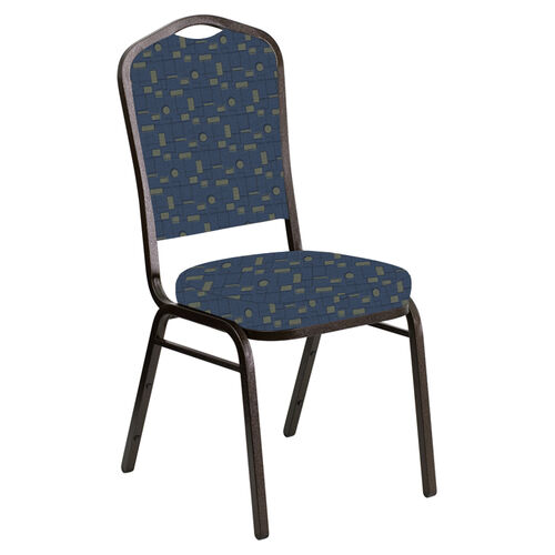 Our Embroidered Crown Back Banquet Chair in Circuit Azul Fabric - Gold Vein Frame is on sale now.