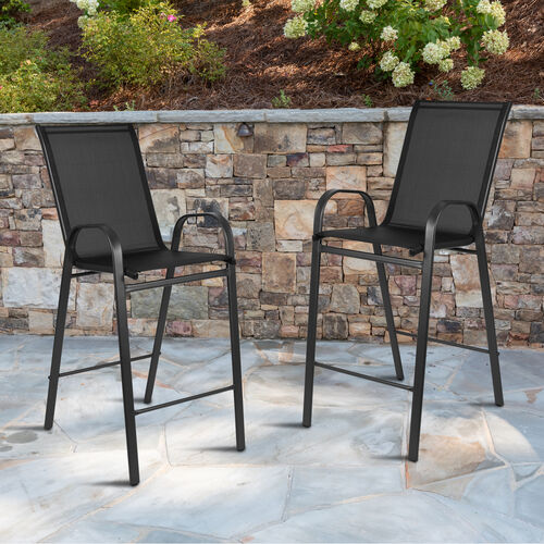 Our 2 Pack Brazos Series Black Stackable Outdoor Barstools with Flex Comfort Material and Metal Frame is on sale now.