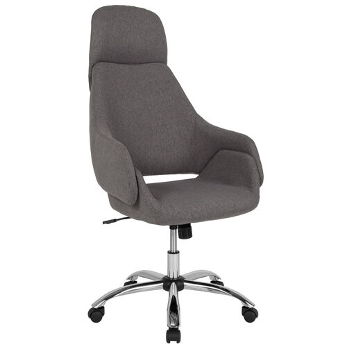 Marbella Home and Office Upholstered High Back Chair in Dark Gray Fabric