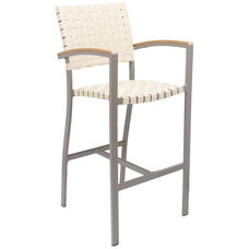 St. Augustine Collection Indoor/Outdoor Barstool with Arms and Mesh Belt Seat and Back -Taupe Frame and Khaki Seat