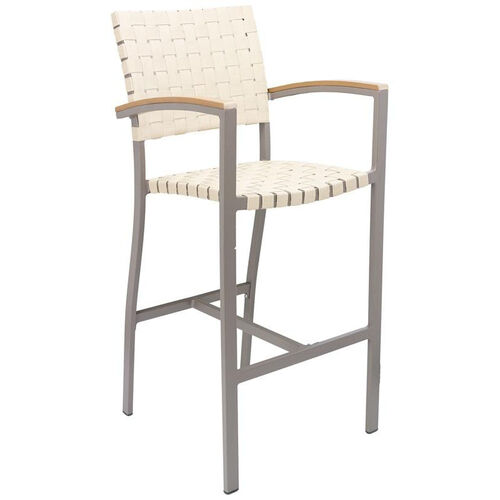 Our St. Augustine Collection Indoor/Outdoor Barstool with Arms and Mesh Belt Seat and Back -Taupe Frame and Khaki Seat is on sale now.