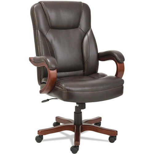 Our Alera® Transitional Series Executive Chair with Walnut Wood Frame - Chocolate Marble Leather is on sale now.