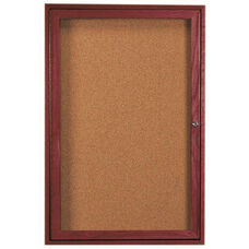1 Door Enclosed Bulletin Board with Cherry Finish - 36