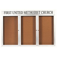 3 Door Indoor Illuminated Enclosed Bulletin Board with Header and White Powder Coated Aluminum Frame - 48