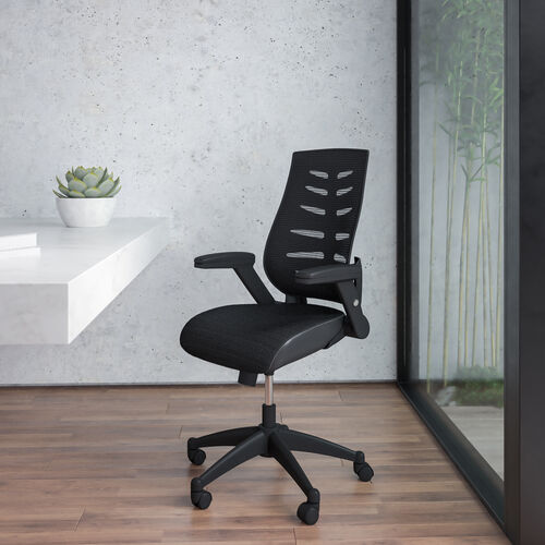 High Back Designer Black Mesh Executive Swivel Ergonomic Office Chair with Height Adjustable Flip-Up Arms