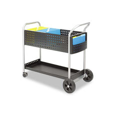 Safco® Scoot Mail Cart - One-Shelf - 22-1/2w x 39-1/2d x 40-3/4h - Black/Silver