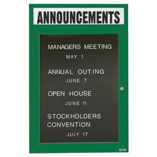 1 Door Indoor Illuminated Enclosed Directory Board with Header and Green Anodized Aluminum Frame - 48