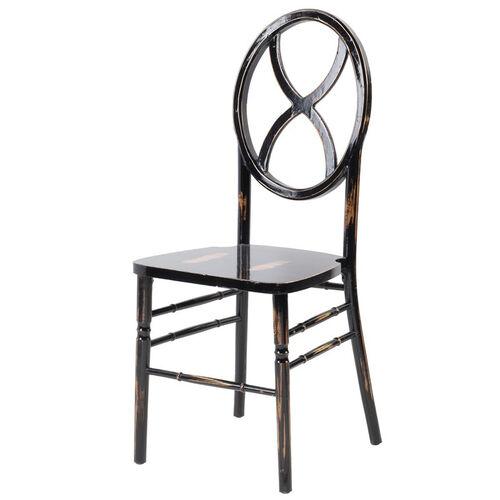 Veronique Series Stackable Sand Glass Wood Dining Chair - Lime Black Wash