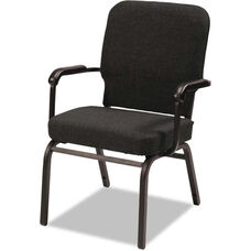 Alera® Oversize Upholstered Stacking Arm Chair - Set of Two - Black Fabric