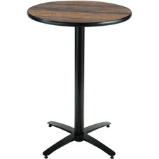 30'' Round Laminate Bistro Height Pedestal Table with Walnut Top - Black Arch Base
