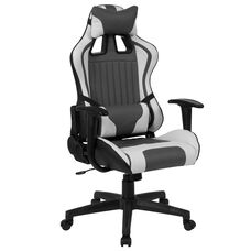 Cumberland Comfort Series High Back Gray and White Reclining Racing/Gaming Office Chair with Adjustable Lumbar Support