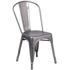 Clear Coated Metal Indoor Stackable Chair