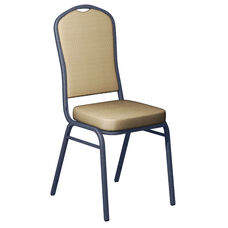 Embroidered Biltmore Golden Fabric Upholstered Crown Back Banquet Chair - Silver Vein Frame