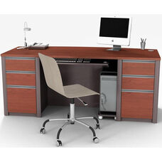 Connexion Executive Desk Set with Wire Management and Modesty Panel - Bordeaux and Slate