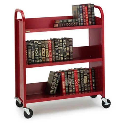 Our Single Sided Duro Book Truck with Slanted Shelves - 36