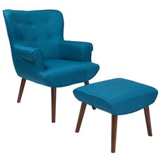 Bayton Upholstered Wingback Chair with Ottoman in Blue Fabric