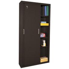 Elite Series 36'' W x 18'' D x 72'' H Sliding Door Storage Cabinet - Black