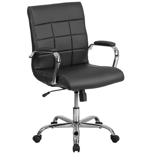 Mid-Back Vinyl Executive Swivel Chair with Chrome Base and Arms